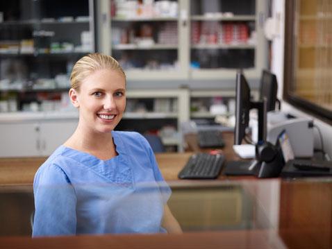 Friendly medical receptionist